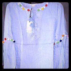 Baby blue this blouse with decorative balls! Boho!